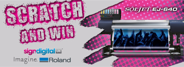 Roland Sign and Digital banner. Scratch and Win