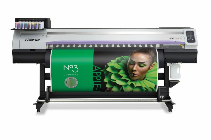 The Mimaki JV300-160 outdoor durable inkjet solvent printer.