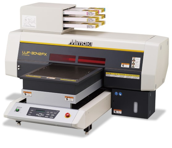The Mimaki UJF-3042FX small-format flatbed printer