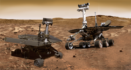 The mars rovers opportunity and spirit have been roaming the Mars landscape since 2003 (and joined by curiosity in 2012).