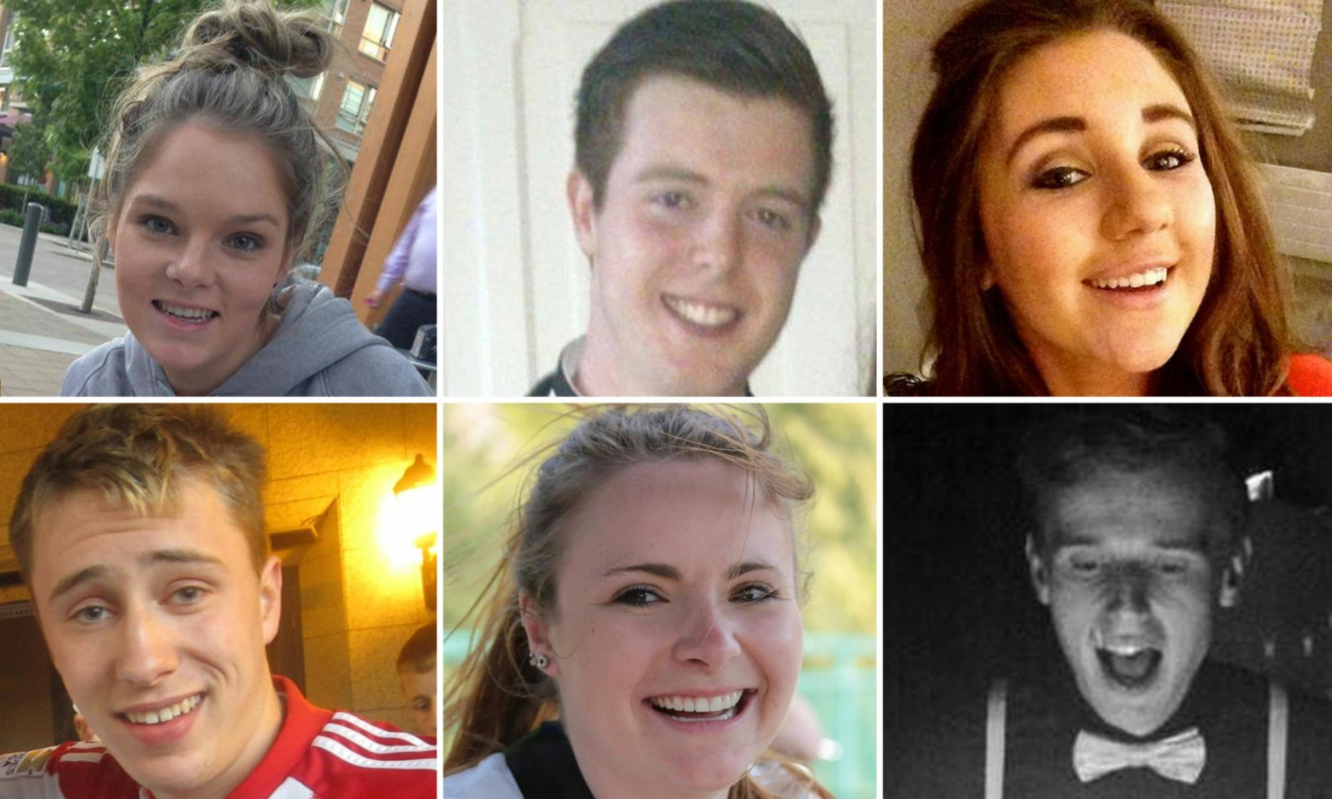 Olivia Burke, 21; Eoghan Culligan, 21; Niccolai Schuster, 21; Lorcán Miller, 21; and 21-year-old Eimear Walsh – all Irish citizens studying at the University of California on J1 visas – and Ashley Donohoe, 22, from Rohnert Park, California. Olive Burke and Ashley Donohoe were first cousins