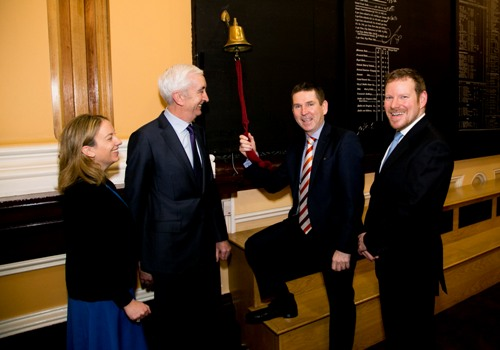 (L-R) Orla O'Gorman Head of Equities ISE Padraic O'Connor Chairman ISE Tony Richardson CEO Venn ringing bell and Jonathan Hartshorn CFO Venn