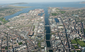 dublin city quays looking east