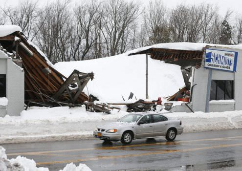 A roof collapsed at Schmidt's Collision and Glass after taking heavy snowfall