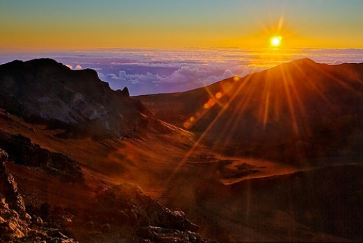A view of the sunrise on top of Mount Haleakala