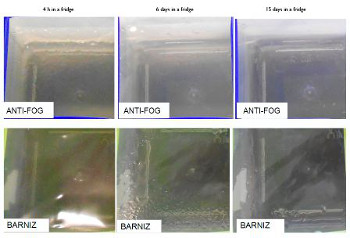 Anti-Fog vs Barniz: Comparative misting with a competitor film and a film Layer Anti-Fog Derprosa over a period of 15 days in a refrigerator